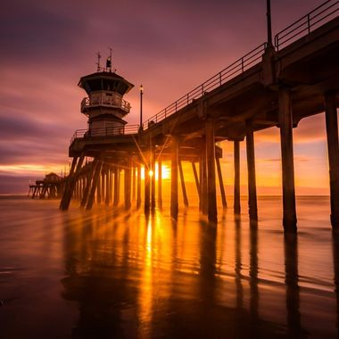 Sunset at Huntington Beach Pier in Southern California, otherwise known as Surf City.