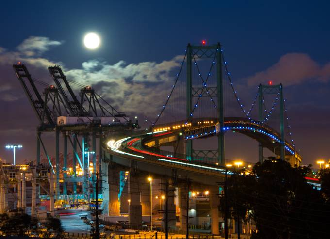 Moon Over The Vincent Thomas Bridge by FilmAndPixels - Bridges In The Night Photo Contest