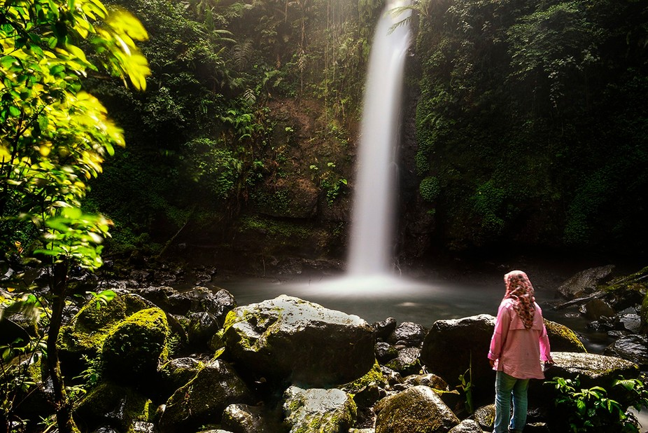 selfie of me with the waterfall during my recent trip to West Java,Indonesia