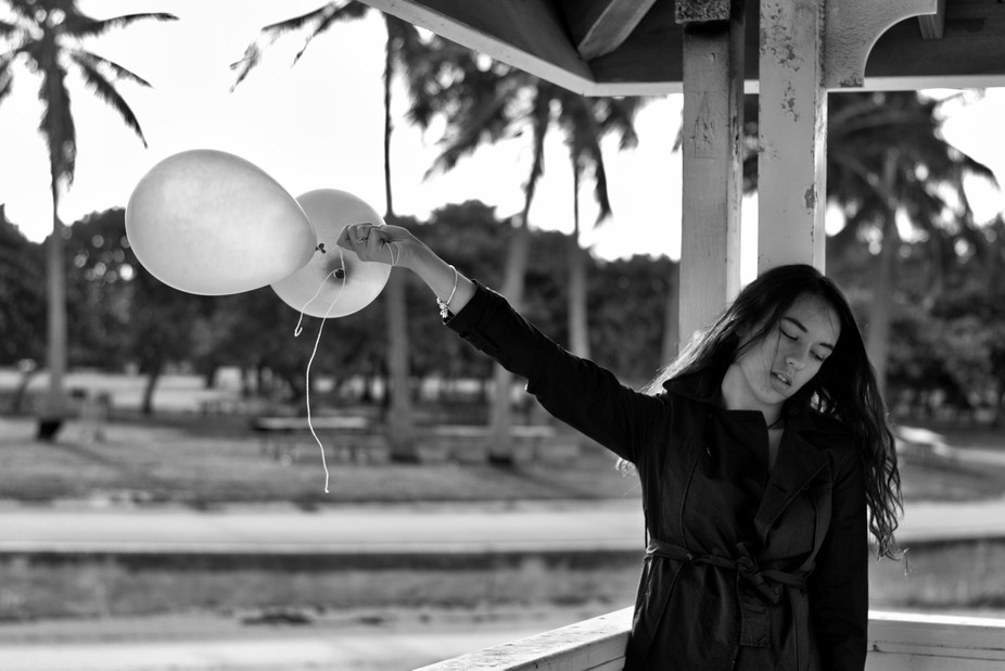 The girl and the balloons.