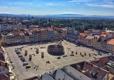 Ceske Budejovice city square from highest place