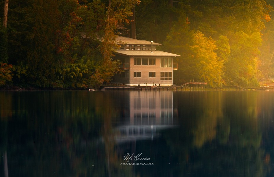 Sunrise over the Mystic Cabin, somewhere around Seattle, Washington