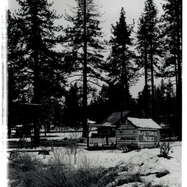 A mountain building near Idyllwild, CA. One of the original shots for my basic B&W photo class. I took this picture on a trip up to see and play in the snow.  Many of my photos are for sale, please click over to my photography store and take a peek. I have something for just about anyone who loves nature.