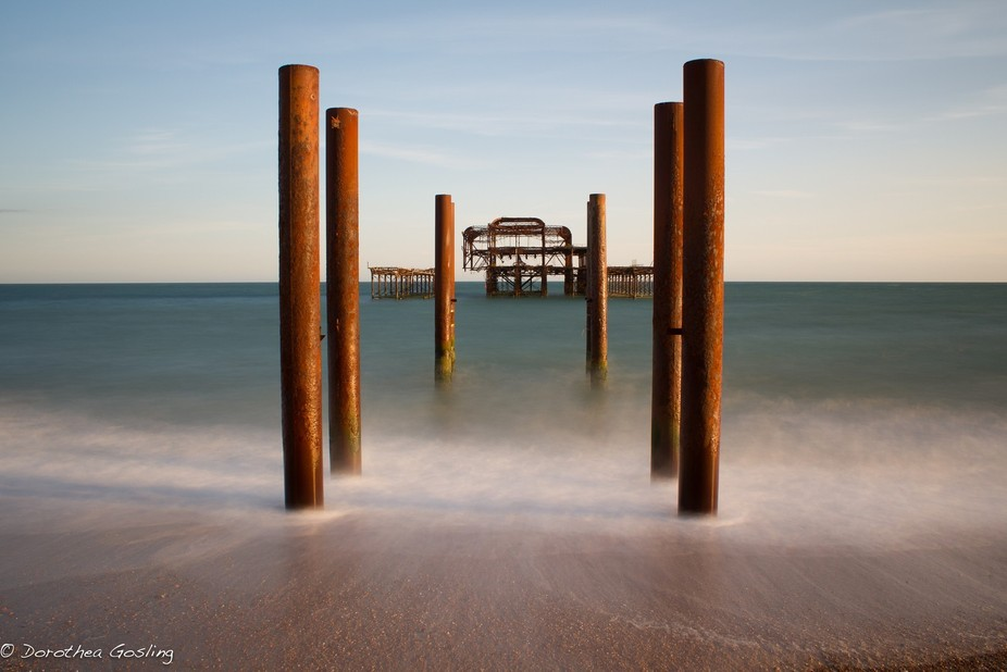 The ever decaying West Pier at sunset.