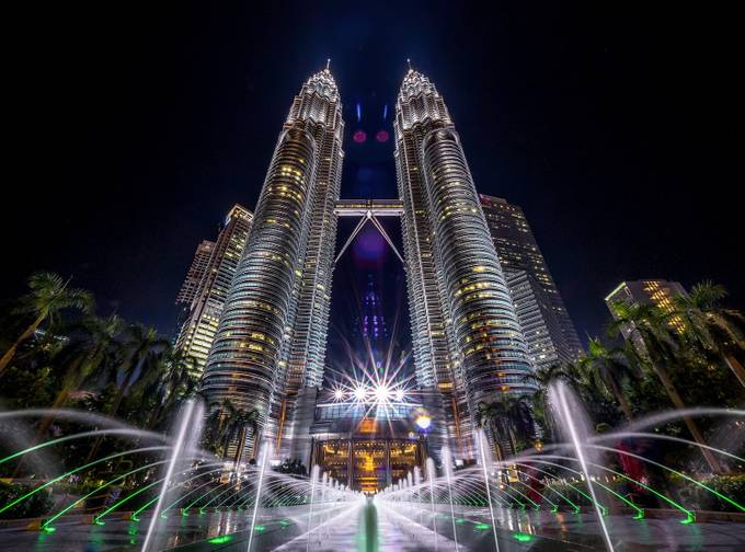 Twin Tower by TienSangKok - City In The Night Photo Contest