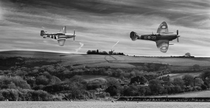 Mustang Chasing Spitfire_Mono by Christographer - Aircrafts Photo Contest