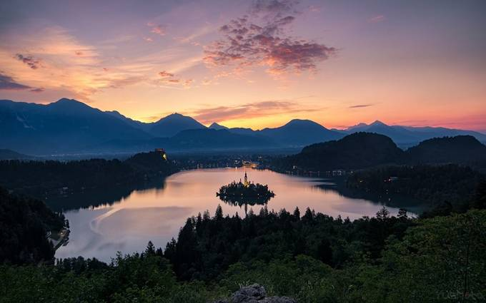 Lake Bled Sunrise  by Deckerush - Islands Photo Contest