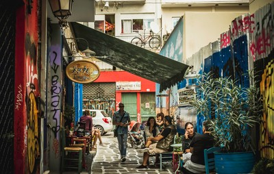 street of Psirri in Athens..