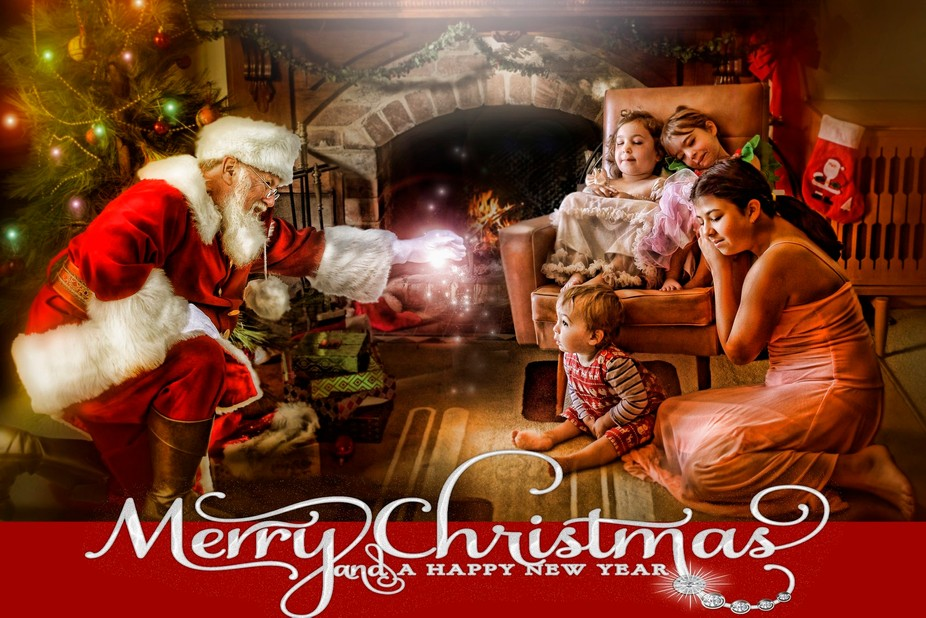 this is a composite of 4 images.   santa from captured by carrie