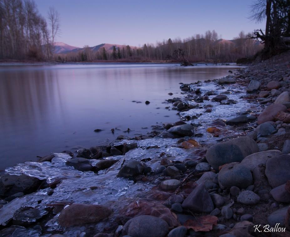 Frosty River Rock Sunset