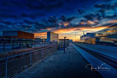 Sunrise at Hjørring station