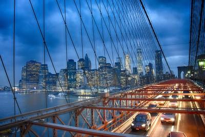 Brooklyn Bridge looking towards the New York Skyline