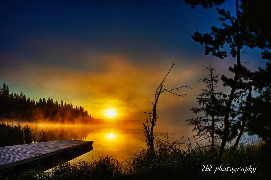 Sunrise on Hart Lake in the Central Interior of British Columbia, Canada.