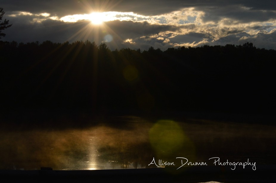 Went fishing with my boyfriend. And as the sun was setting I saw fog of the water. And saw the pe...