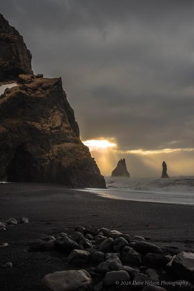 Reynisdrangar Sea Stacks, Reynisfjara, South Iceland.