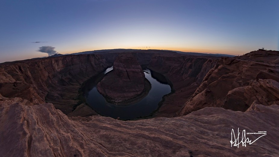 During the middle of the summer the sun sets perfectly on center of Horseshoe Bend. But only for a few days in August.