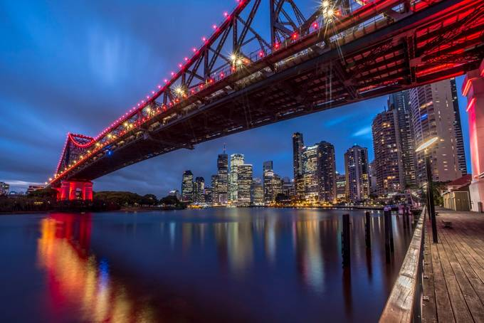 Brisbane Bridge by JohnHPhotography - City In The Night Photo Contest