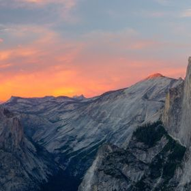 Yosemite.  Shot from Glacier Point at sunset.