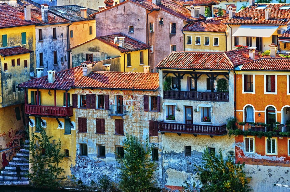 A shot of the old city of Bassano Del Grappa, Italy from the Piazza Terraglio, right next to the ...