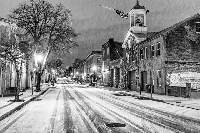 Frederick, First Snow 2016 by BruceSaunders - City Life In Black And White Photo Contest