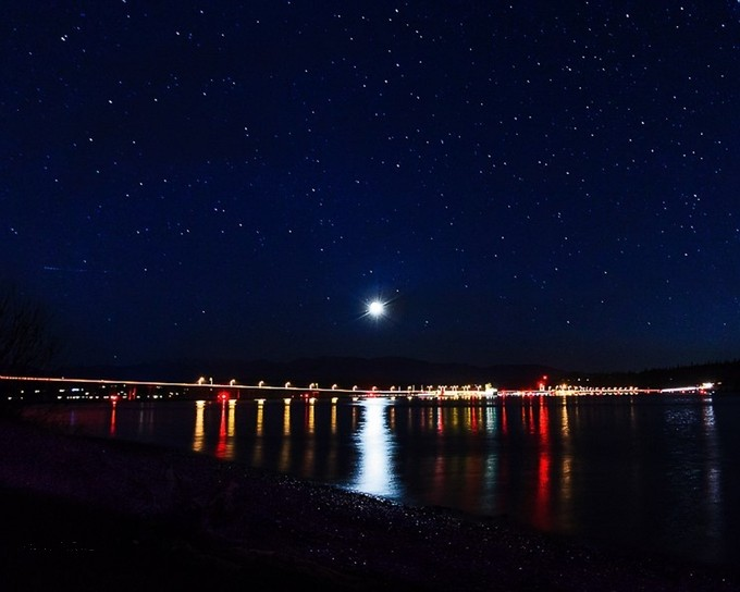 Full Moon Reflects over the Hood Canal and Bridge