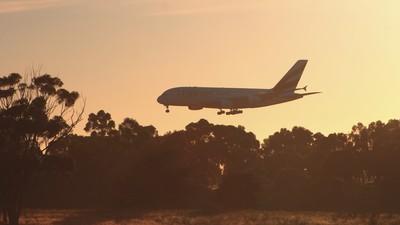 EMIRATES A380 landing, Melbourne Airport
