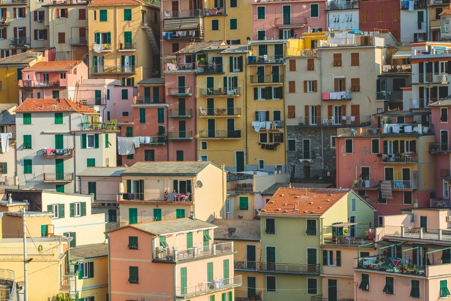 A close of up the houses in Manarola , Italy