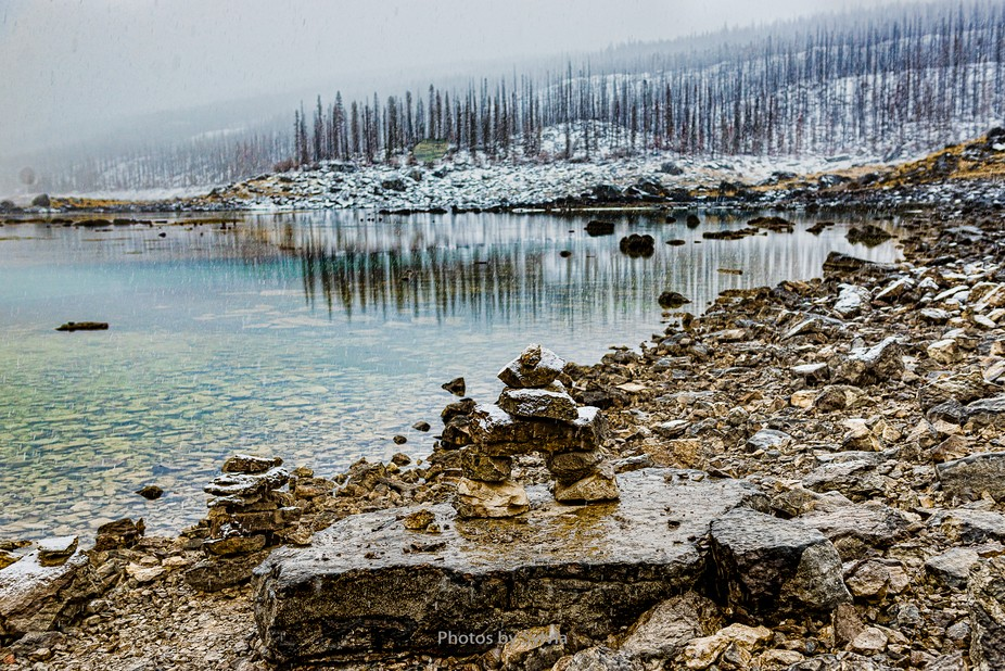 A cold, rainy, snowy day at Medicine Lake, Jasper National Park