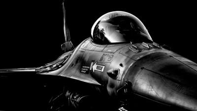 Resting F16 fighter jet