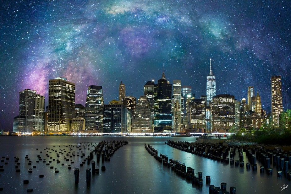 This is a composite of Death Vally Stars over New York City