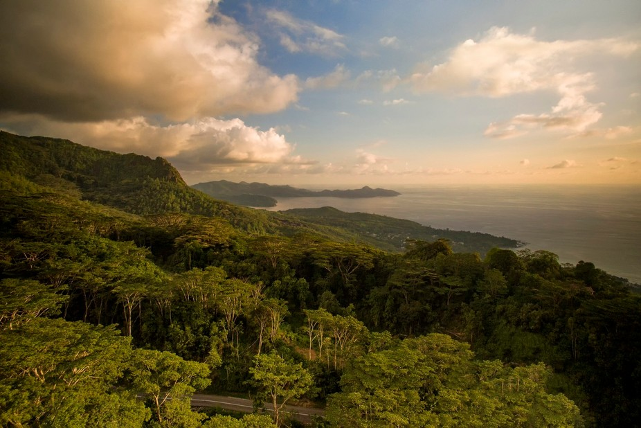 A stunning viewpoint overlooking the West Coast of Mahe at Sunset.