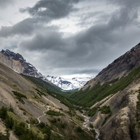 The trail to the Base Towers (Torres del Paine) crosses through this magnificent Ascencio Valley in Patagonia (Chile).