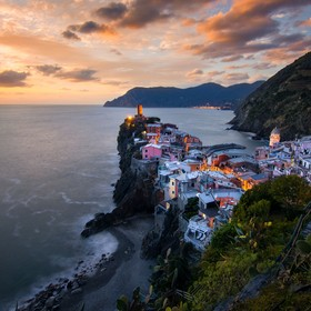 Sunset shot at Vernazza - Cinque Terre (Italy)  One of the most beautiful villages in the world, where every corner is a blessing for the eyes.