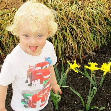 Boy in with Flowers