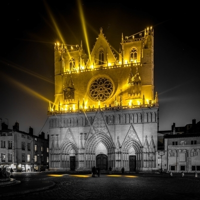 St-Jean Cathedral during the Festival of Lights in Lyon
