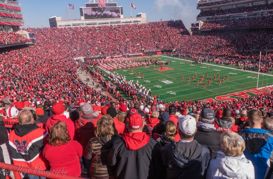 An incredible view showing the love of the Big Red fans and the awesome stadium.