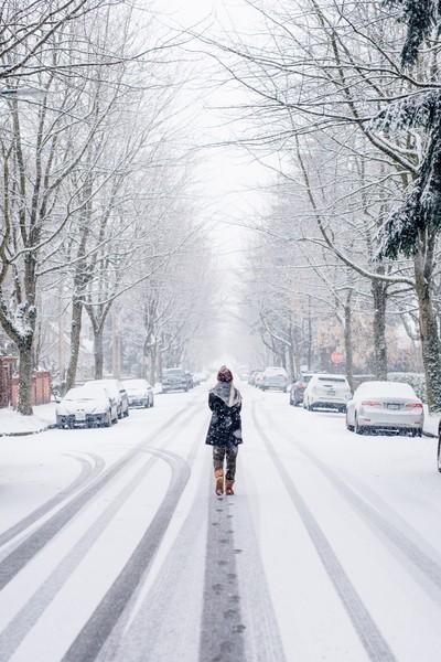 Girl Enjoying First Snowfall
