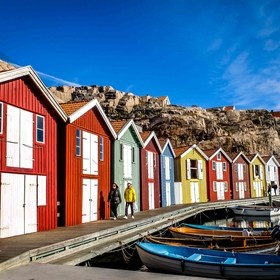 Colorful fishing huts.