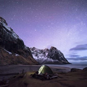 Camping at Kvalvika beach in the Lofoten islands, Norway was a wonderful experience! This night we got lucky with the weather, as it was very cal...