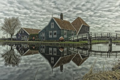 Reflexion in the water,Zaanse schans,Holland