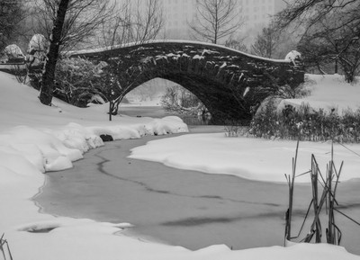 B/W  Gapstow  Bridge and Pond  in a Blizzard