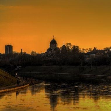 Vilnius, night falling over the dome