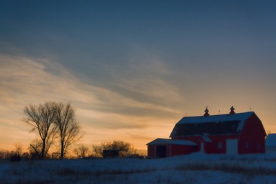 Barn at Sunset.