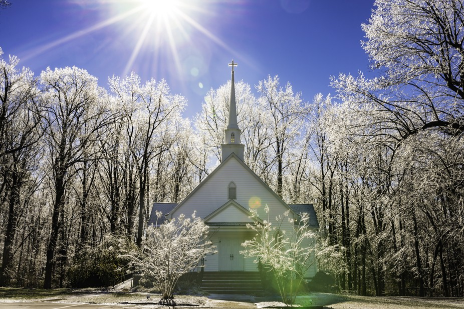 This little church in the backwoods of North Carolina is covered in ice after an ice storm hit th...