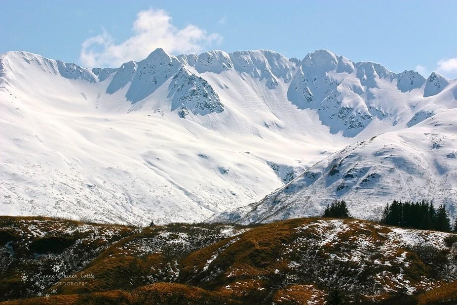 Snow covered Anton Larsen Mountain in Kodiak, Alaska