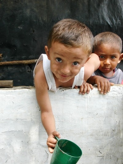 Drinking from a cistern in Nicaragua