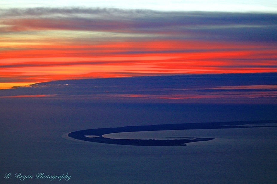 Cape Cod at sunrise from above
