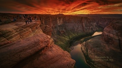 Watching Flaming Sunset on the Colorado River - Horseshoe Bend Page, AZ 11-26-2016.