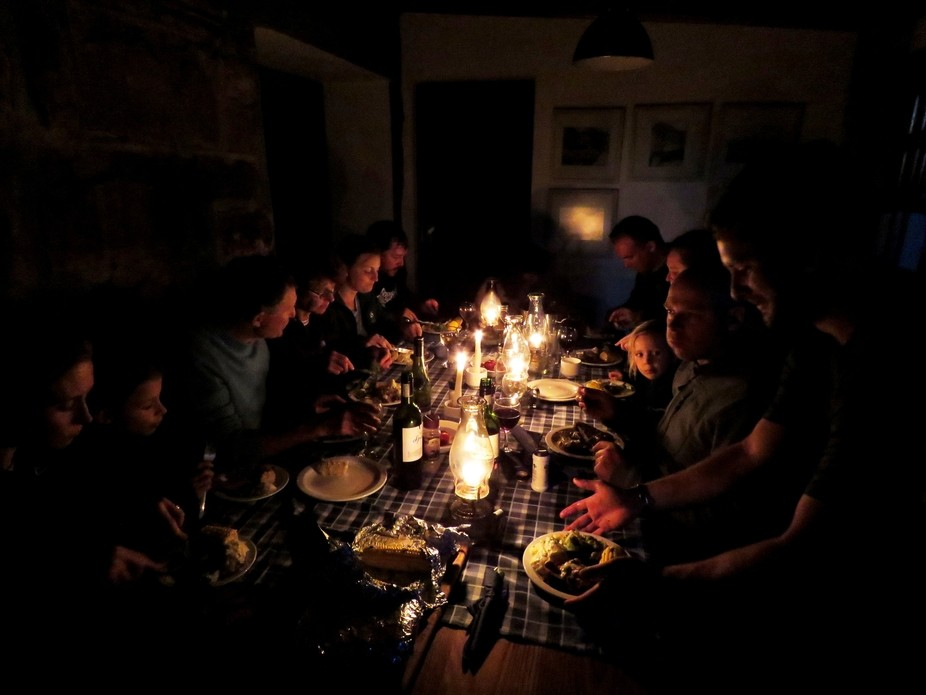 Well earned supper in Overseers Cottage after a day's hiking up Orange Kloof from Consta...