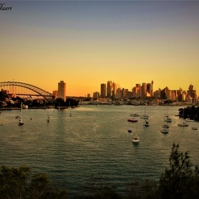 Harbor bridge sunset view from Lavender bay- Sydney 2014